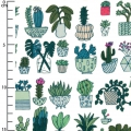 Cotton fabric - Hygge - Cactus - White/Neon x10cm