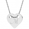 925 Sterling Silver Heart pendant 2 holes 13x11 mm x1