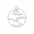 925 Sterling Silver Bonsai openwork charm 16 mm x1