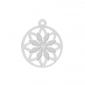 925 Sterling Silver Rosace openwork charm 14 mm x1