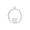 925 Sterling Silver Heart openwork charm 14 mm x1