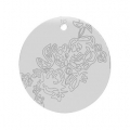 925 Sterling Silver Medal round charm rose pattern 16 mm x1