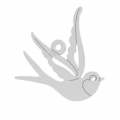 925 Sterling Silver bird pendant 15x15 mm x1