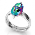 925 Sterling Silver Ring for Scarab bead Swarovski 5728 12 mm x1