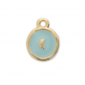 Round charm moon pattern with epoxy resin 12.5x10 mm Gold Tone/Blue x1
