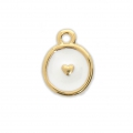 Round charm heart pattern with epoxy resin 12.5x10 mm Gold Tone/White x1