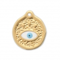 Round charm lucky eye with epoxy resin 18x15 mm Gold Tone x1