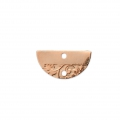 Half moon spacer 2 holes ethnic pattern 18x9 mm Rose Gold Tone x1