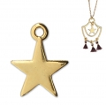 Star charm for DIY jewelry creation 14 mm Gold Tone x1