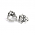 Adjustable tin ring lotus flower pattern 19 mm Antique Silver Tone x1