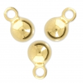Ball charms 7x11 mm for jewelry creation Gold Tone x4