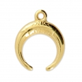 Horn charm ethnic pattern 15x18 mm Gold Tone x1
