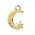 Crescent moon and star charm 17x11 mm Gold Tone x1