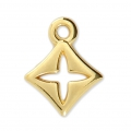 Diamond/cross charm 14x11 mm Gold Tone x1