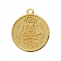 Round studded charm hand of Fatma 23x20 mm Gold Tone x1