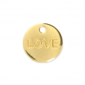 Engraved round charm LOVE 9 mm - Gold Tone x1