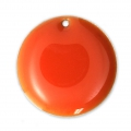 Round metal Epoxy Enamelled sequins 20 mm Orange x5