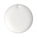 Round metal Epoxy Enamelled sequins 20 mm White x5