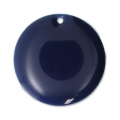 Round metal Epoxy Enamelled sequins 20 mm Night Blue x5