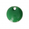 Round metal Epoxy Enamelled sequins 8 mm Green x10