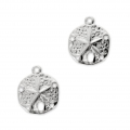 Sand dollar charms 5 holes - 11 mm 925 Sterling Silver x2