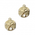 Sand dollar charms 5 holes - 11 mm 14Kt Gold-filled  x2