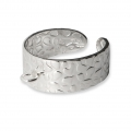925 Sterling Silver Ring with 1 loop - Hammered effect x1