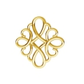 925 Sterling Silver square filigree pendant/spacer 15 mm Gold Tone 24Kt x1