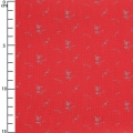 Double gauze cotton Fabric - France Duval-Stalla - Flowers - Poppy/Silver x10cm