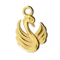 Swan charm for DIY jewelry creation 17x12 mm Gold Tone x1