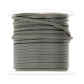 Flat lace 2 mm in reconstituted leather - Grey x5m