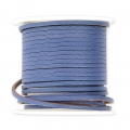 Flat lace 2 mm in reconstituted leather - Blue x5m