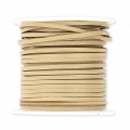 Flat lace 2 mm in reconstituted leather - Beige x5m