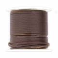 Flat lace 2 mm in reconstituted leather - Brown x5m