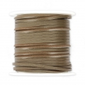 Flat lace 2 mm in reconstituted leather - Taupe x5m