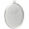 925 Sterling Silver Pendant setting for 30x40 mm cabochon x1