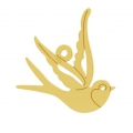 925 Sterling Silver Swallow pendant 15x15 mm - Gold Tone x1