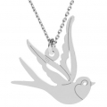 925 Sterling Silver Swallow pendant 15x15 mm - Rose Gold Tone x1