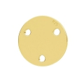 925 Sterling Silver round spacer 3 holes 9 mm - Gold Tone x1