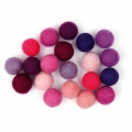 Assortment of woolfelt balls 15 mm Violet Mix x20