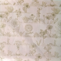 Cotton fabric - Hygge - Flowers - Powder/Gold x10cm