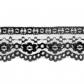 Rachel lace ribbon Flowers 52 mm Black x1m