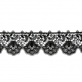 Lace tulle ribbon flowers pattern 35 mm Black x50cm
