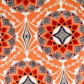 Wax Fabric - Rosace - Orange / Violet / Brown x10cm
