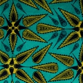 Wax Fabric - leaves - Green Turquoise / Blue / Green x10cm
