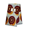 Wax Fabric - Rosace - Bordeaux / Orange x10cm