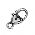 Lobster claw clasp Heart 17 mm Antique Silver Tone x1