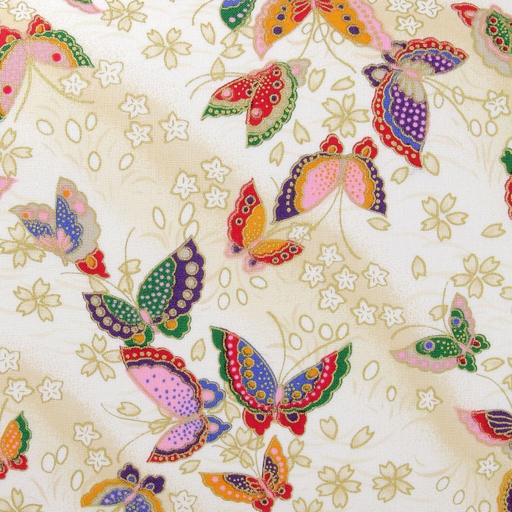 Japanese Cotton Fabric By Kurenai Butterfly Cream