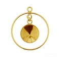 925 Sterling Silver Pendant 24 mm for Swarovski 1122 12 mm - 24Kt gold plated x1