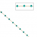 Chain with faceted glass bead 2.95 mm Gold Tone/Turquoise x1m